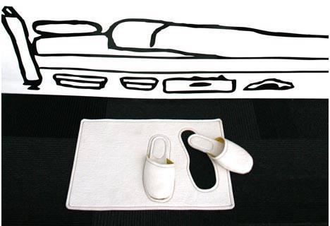 Коврик у кровати с встроенными домашними туфлями