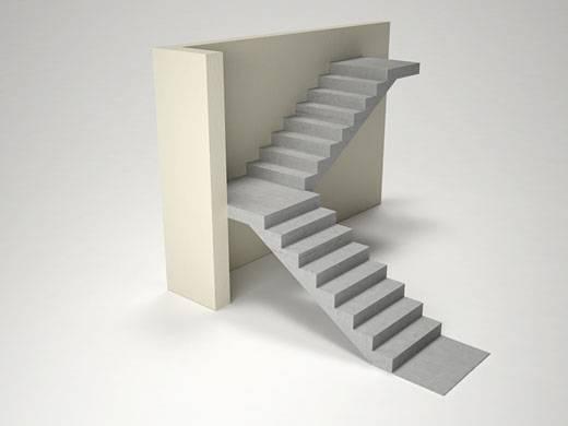 Прямые одномаршевые монолитные лестницы