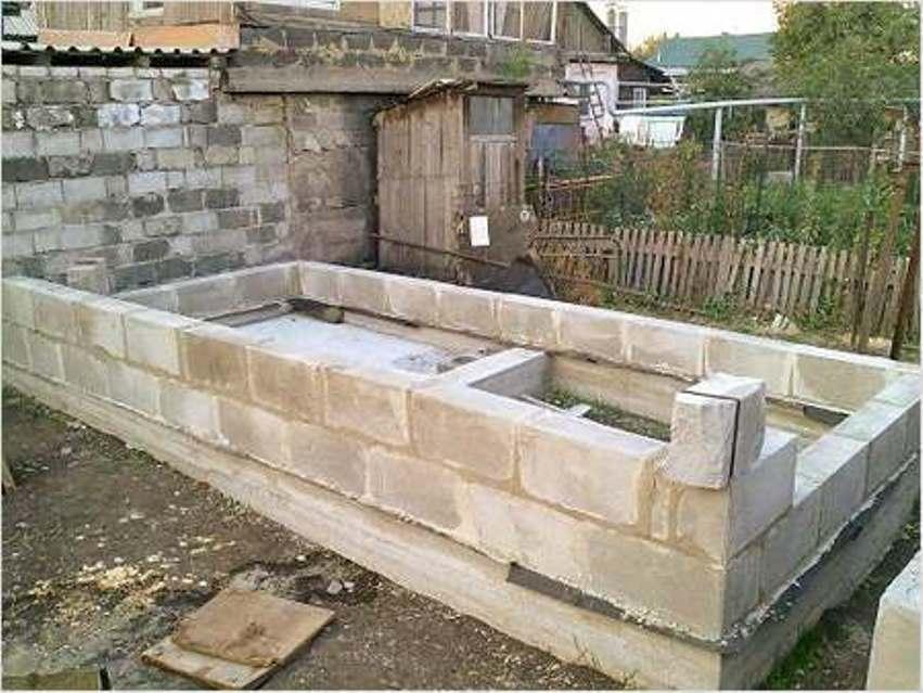 Баня из пеноблоков - фундамент