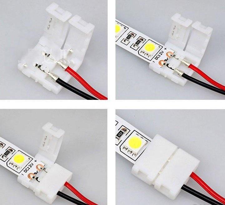 Подключение светодиодной ленты к питающим проводам