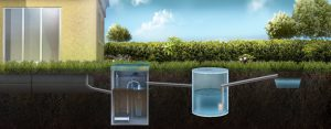 Схема отвода очищенной воды через накопительный резервуар в ливневую канаву