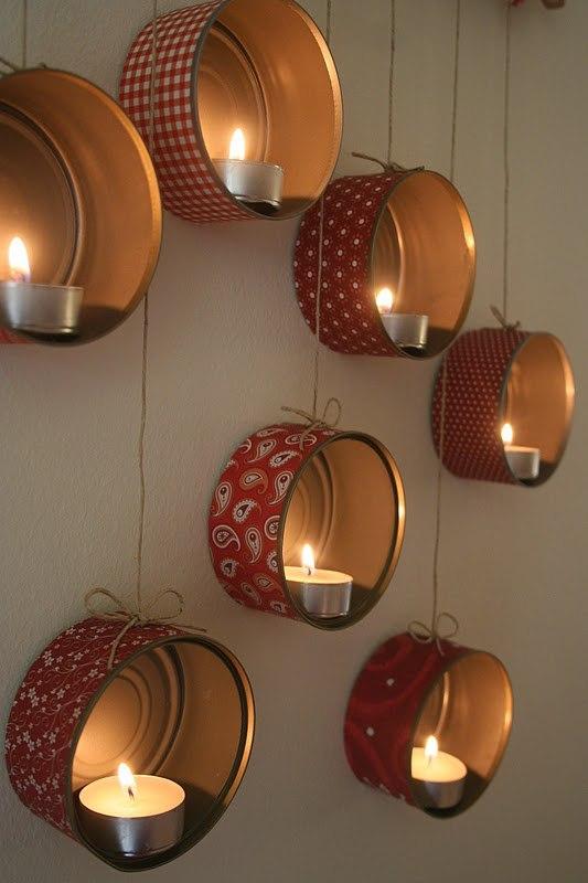 Поделки из консервных банок со свечками
