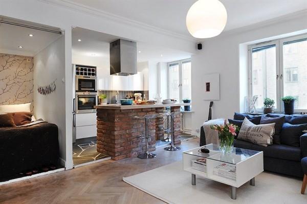 Барная стойка для зонирования гостиной-кухни