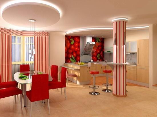 Зонирование кухни и гостиной при помощи подвесного полотка