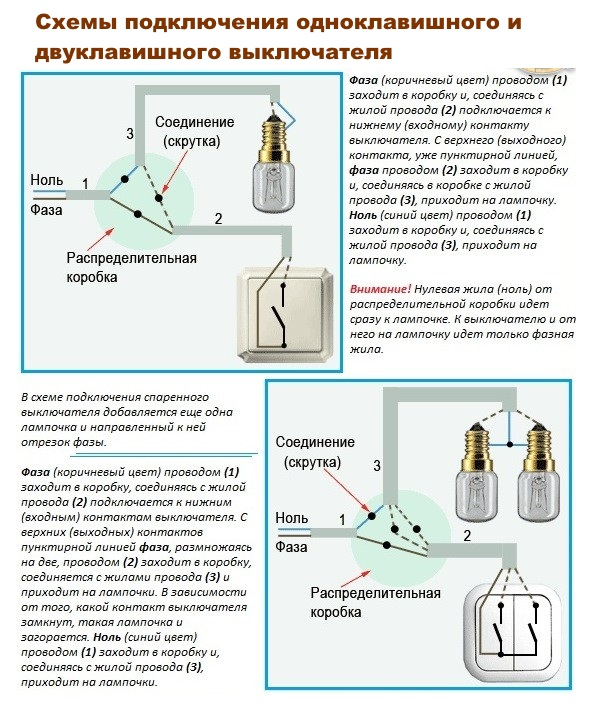 Схема подключения одноклавишного и двуклавишного выключателя