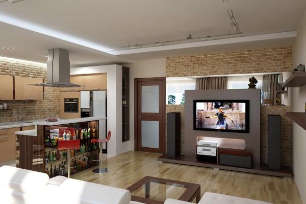 Вытяжка в совмещенной кухне-гостиной