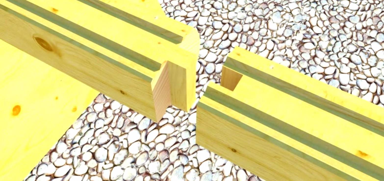 Соединение бруса С коренным шипом фото
