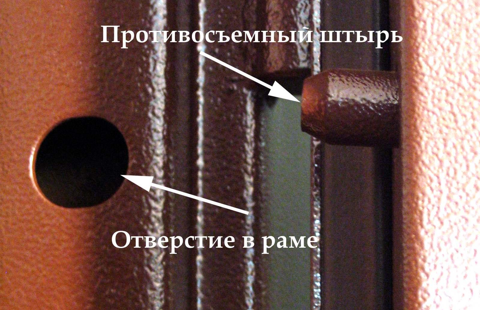 Противосъемный штырь двери