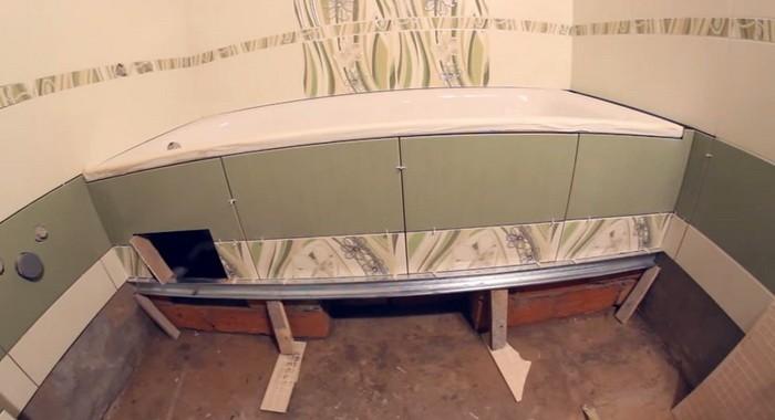 Отделка чугунной ванны керамической плиткой фото