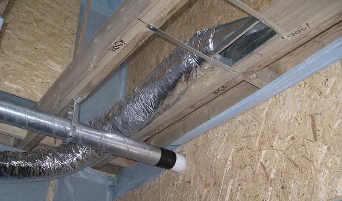 Монтаж вентиляционной системы внутри панелей