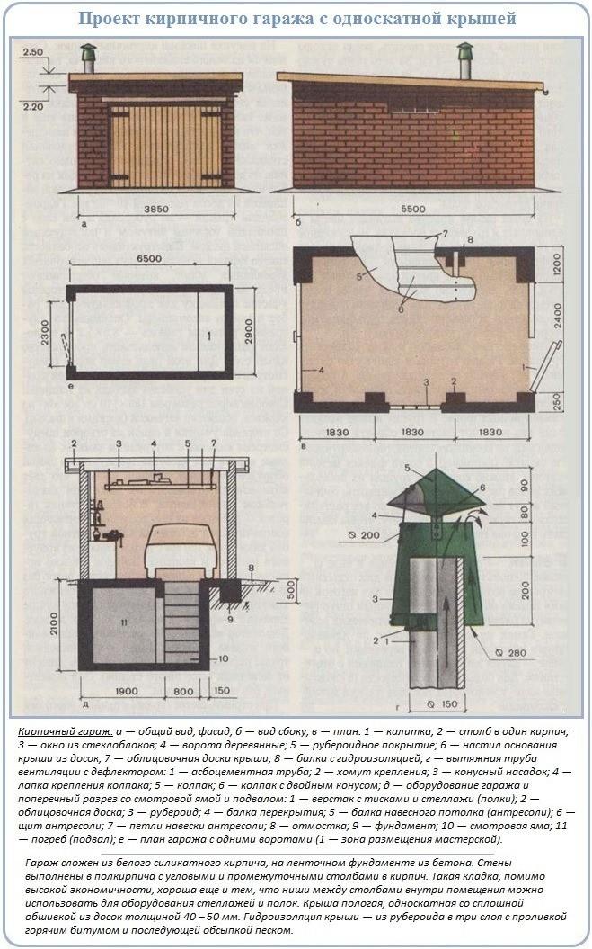 Кирпичный односкатный гараж: проект