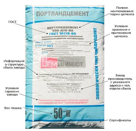 Маркировка мешков с цементом
