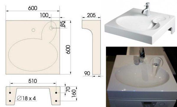 Раковина, устанавливаемая над верхней поверхностью стиральных машин со сливом сбоку