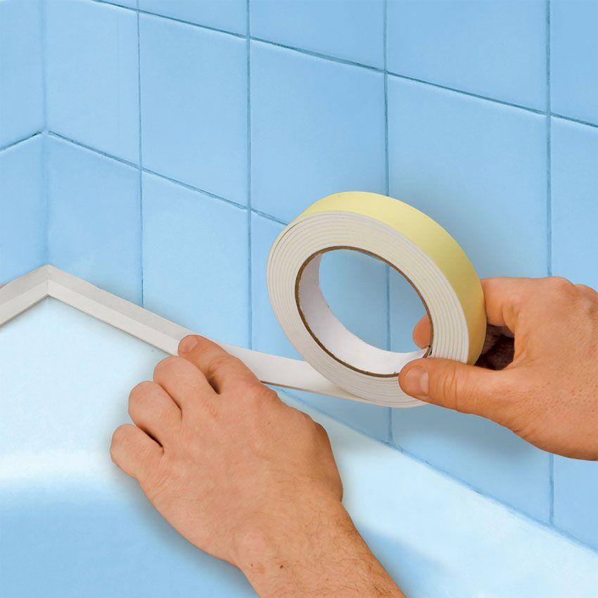 как укрыть примыкание ванны бордюрной лентой