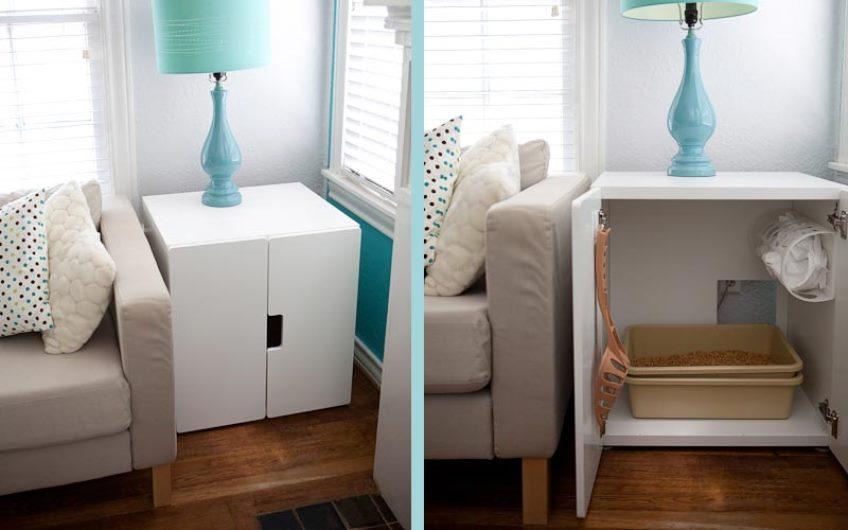 Шкафчик, приспособленный под туалет для кошки