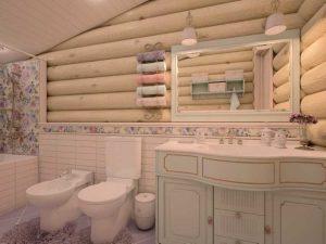 Деревянный дом: правила оформления ванной комнаты
