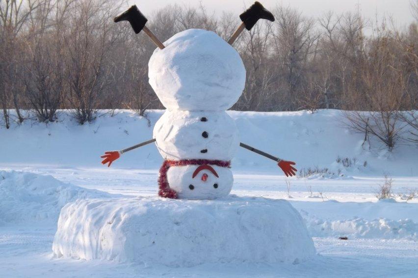 "Строим необычного снеговика ""наоборот"""