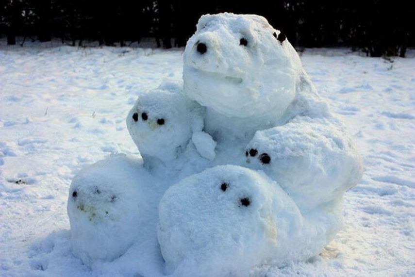 Необычные идеи снеговиков
