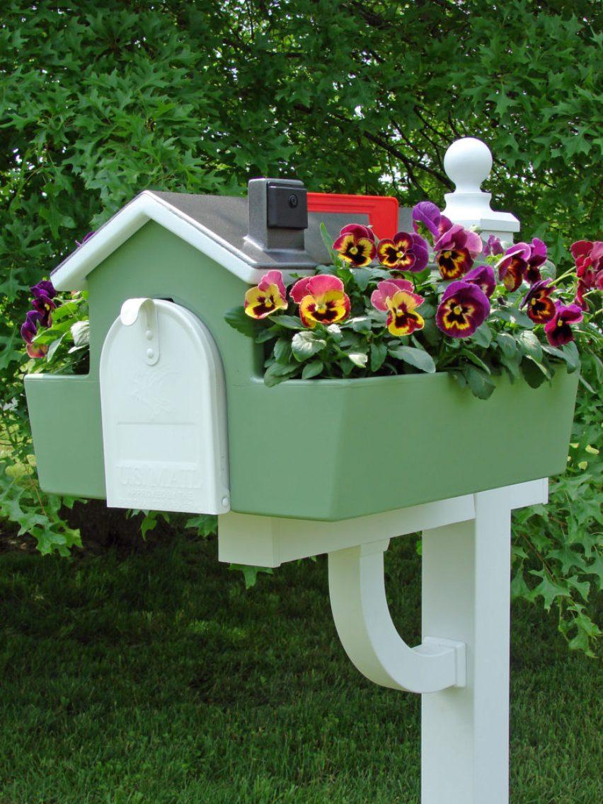 Цветы около почтового ящика