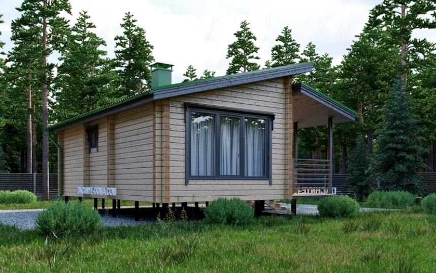 домик с односкатной крышей