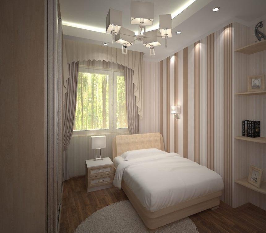 Узкая спальня: цветовое решение