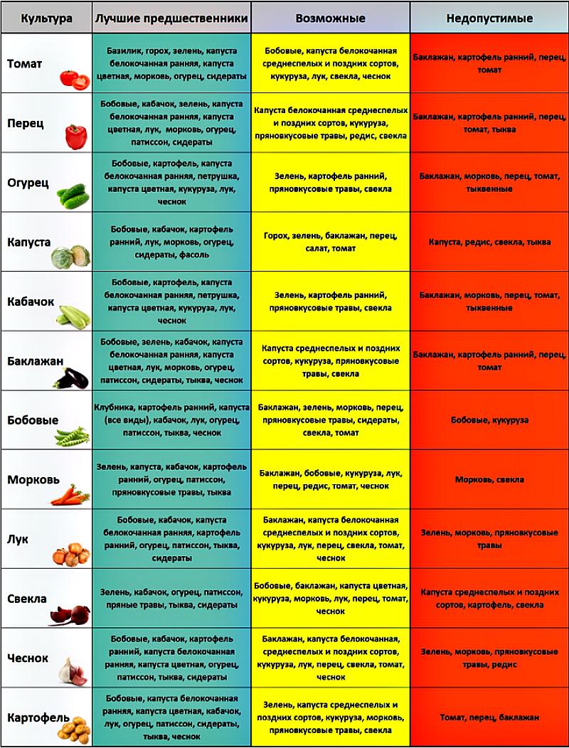 Севооборот таблица