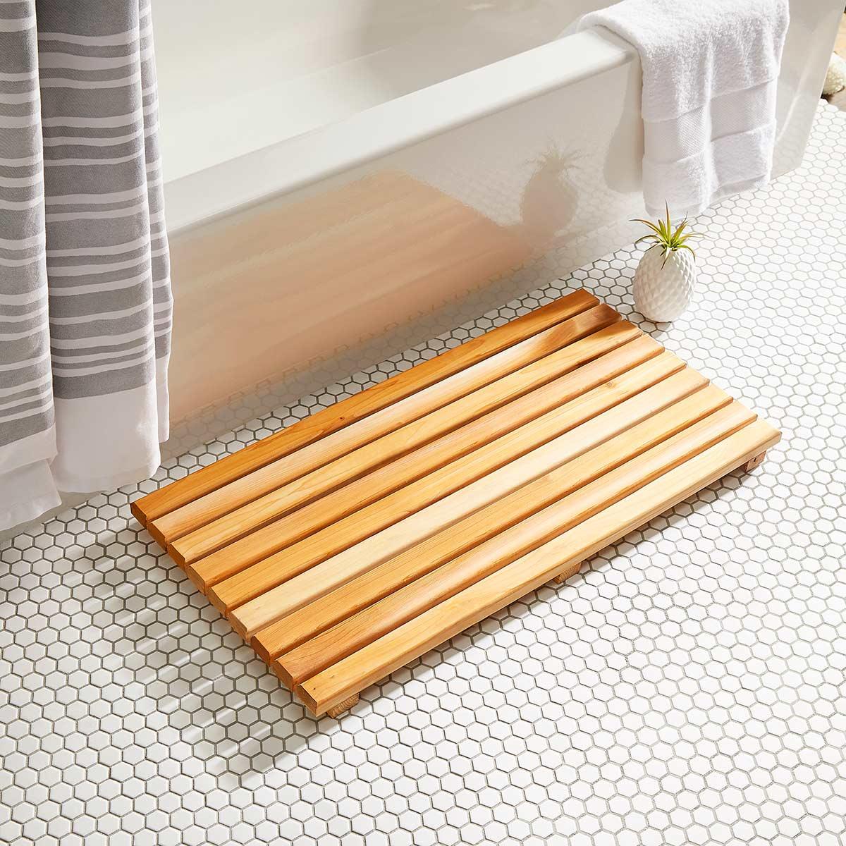 Деревянный коврик для ванной за один час: простой мастер-класс
