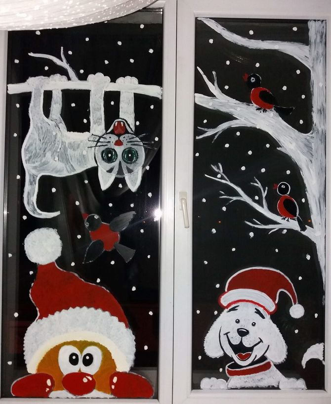 Рисуем на окнах гуашью