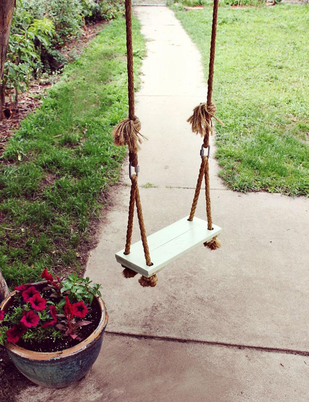 Верёвочные качели для сада своими руками