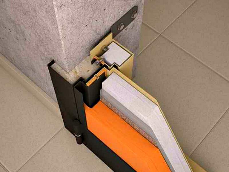 Дверь с терморазрывом крепление рычагом