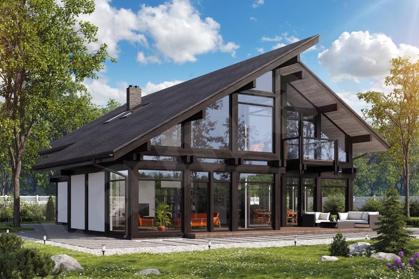 Остекленный фахверковый дом