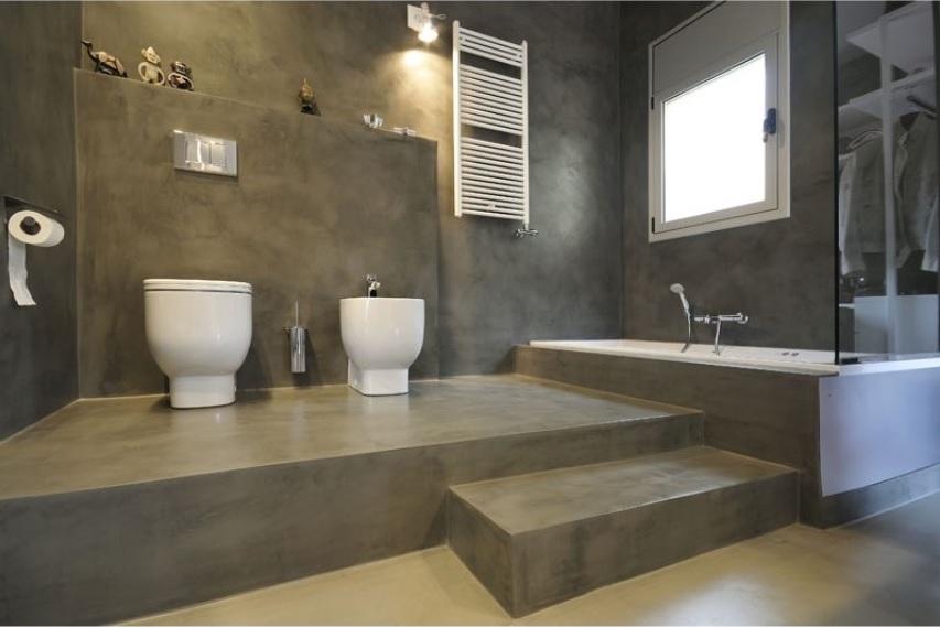 Микроцемент - отделка ванной